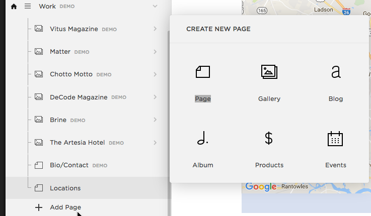 Add a page to Squarespace.